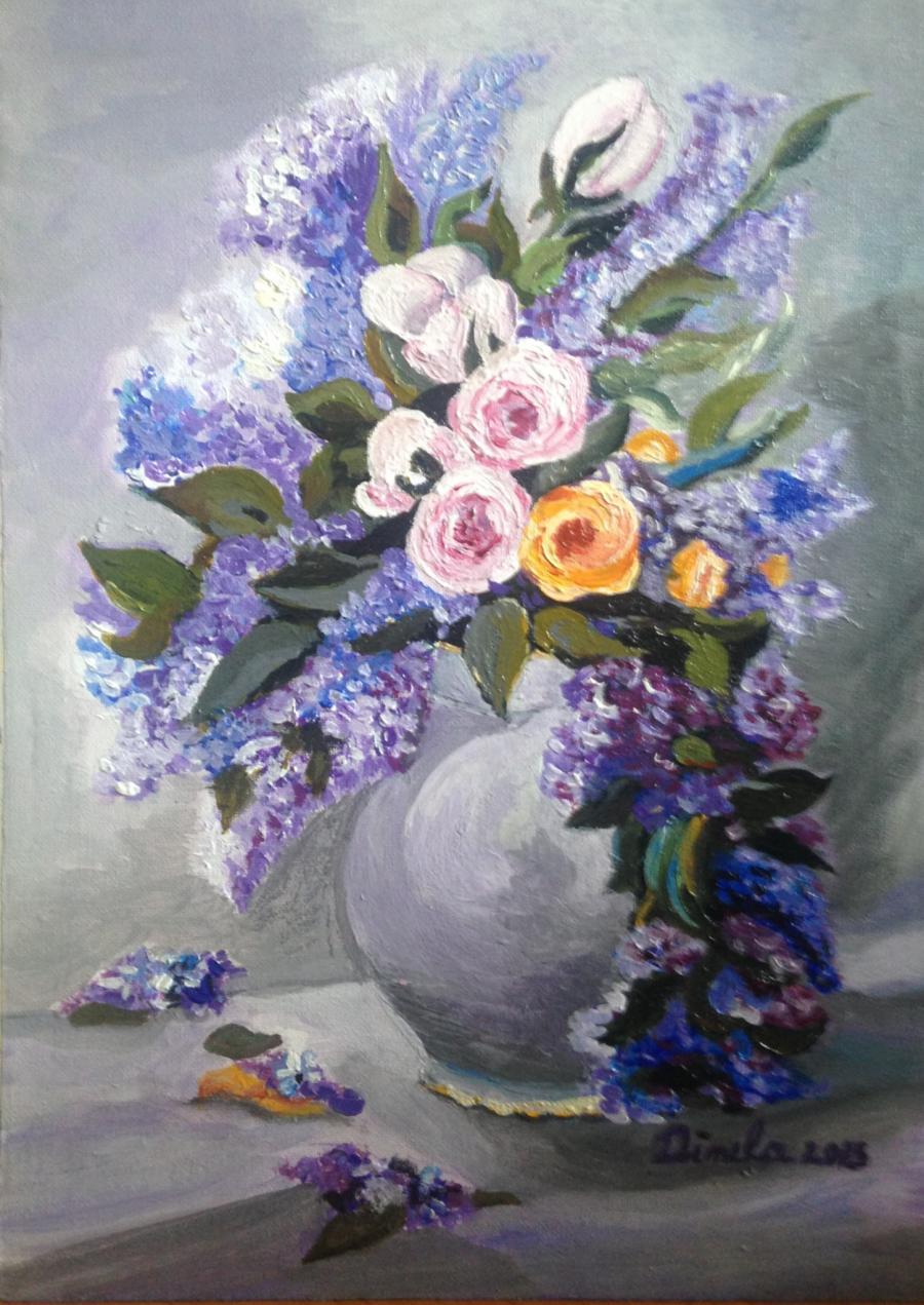 alte Picturi liliac in vas alb