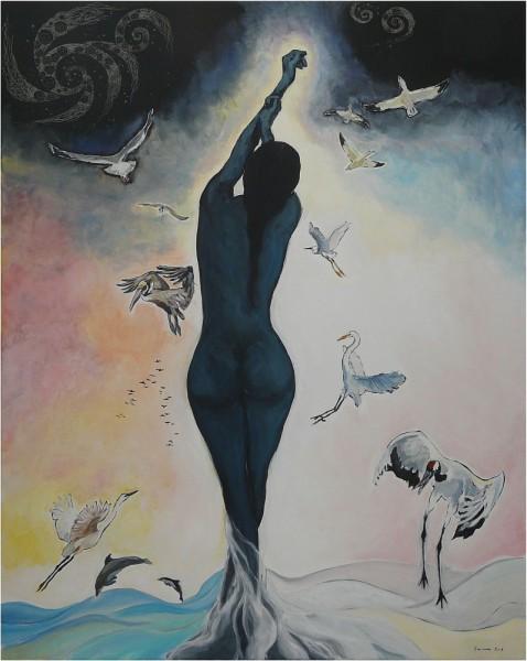 alte Picturi Femeie albastra cu pasari