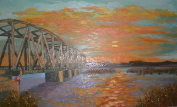 alte Picturi Apus pe podul olt