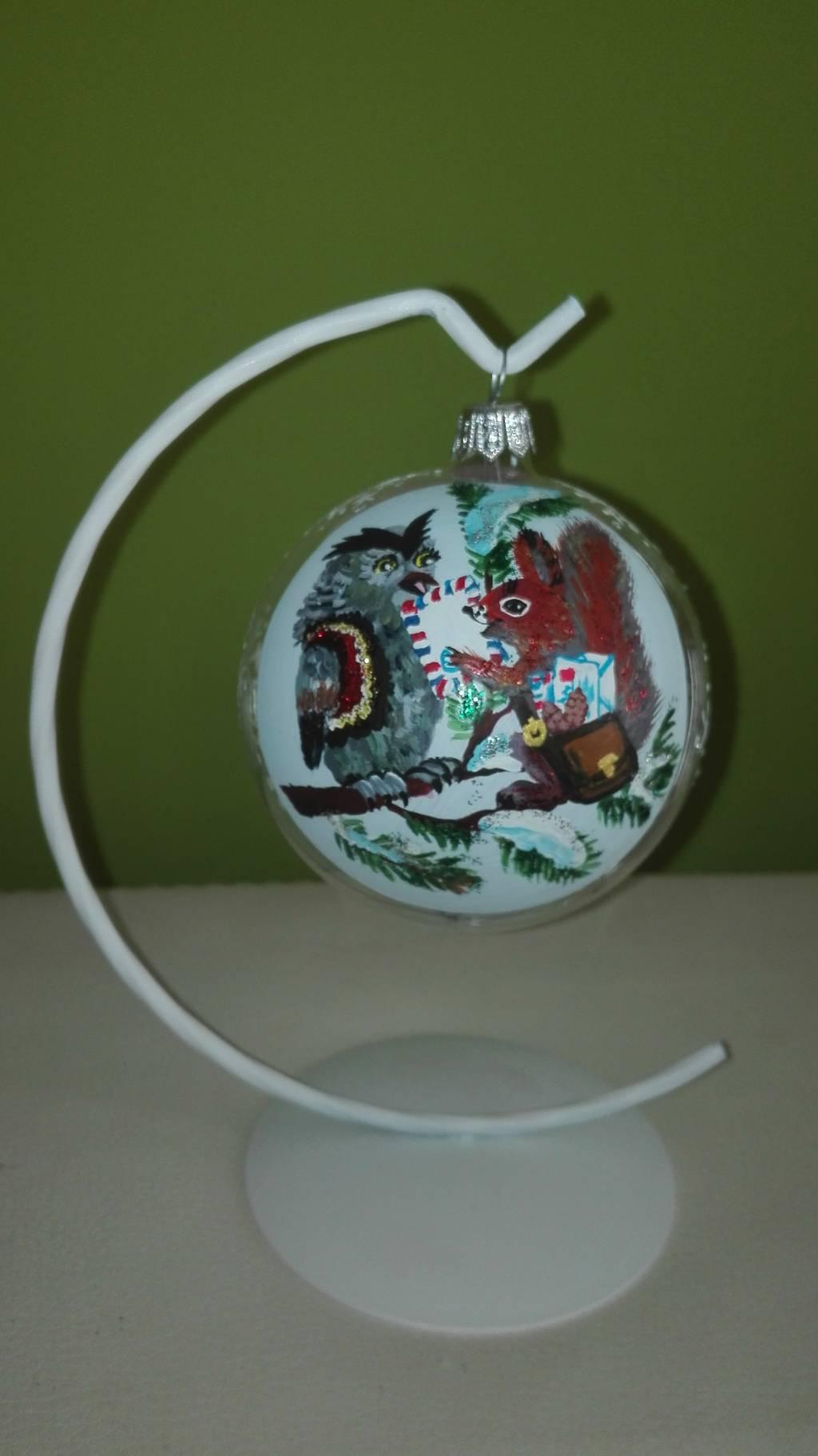 Glob de sticla, pictat manual cu culori