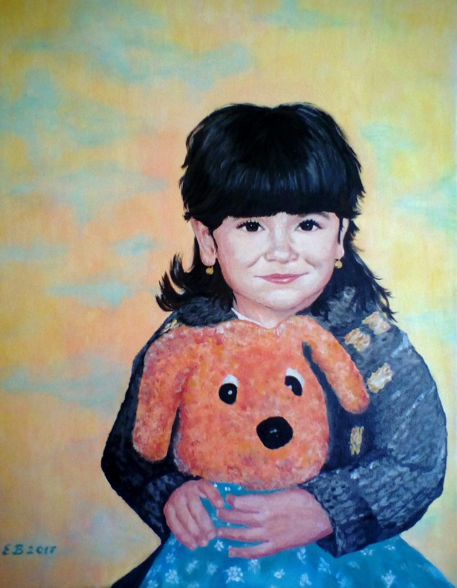 Pictura portret copii. Doi buni priet