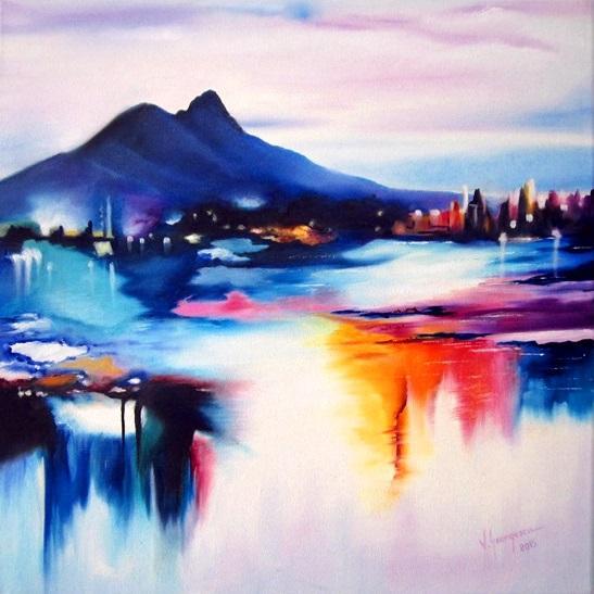Picturi abstracte/ moderne La poalele mu