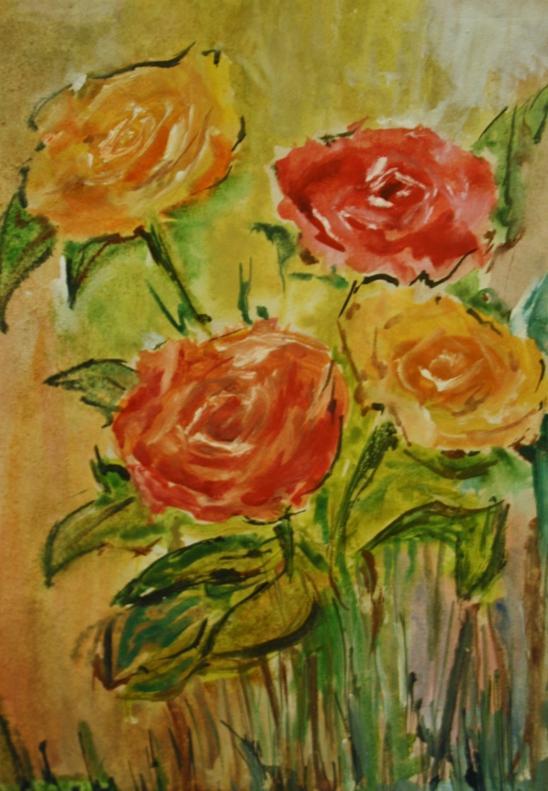 Picturi cu flori Buchet de trandafiri in