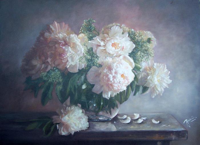 Picturi cu flori bujori albi  in vas de