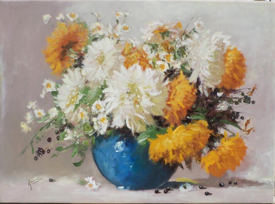 Picturi cu flori Crizanteme in vas albas