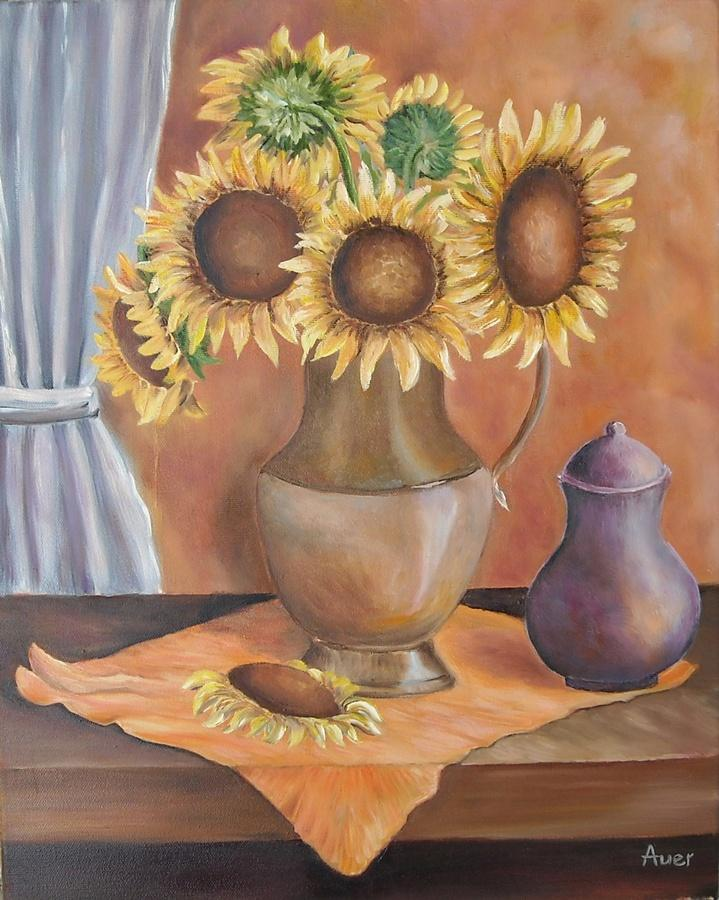 Picturi cu flori Floarea soarelui in vaz