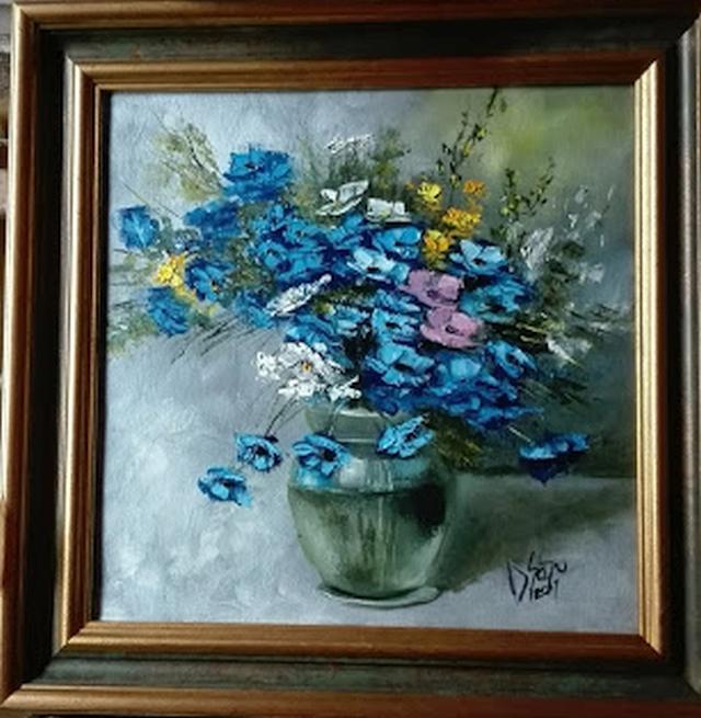 Picturi cu flori Flori albastre in vas d