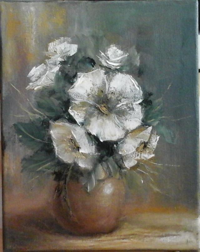 Picturi cu flori Flori albe in vas de pa