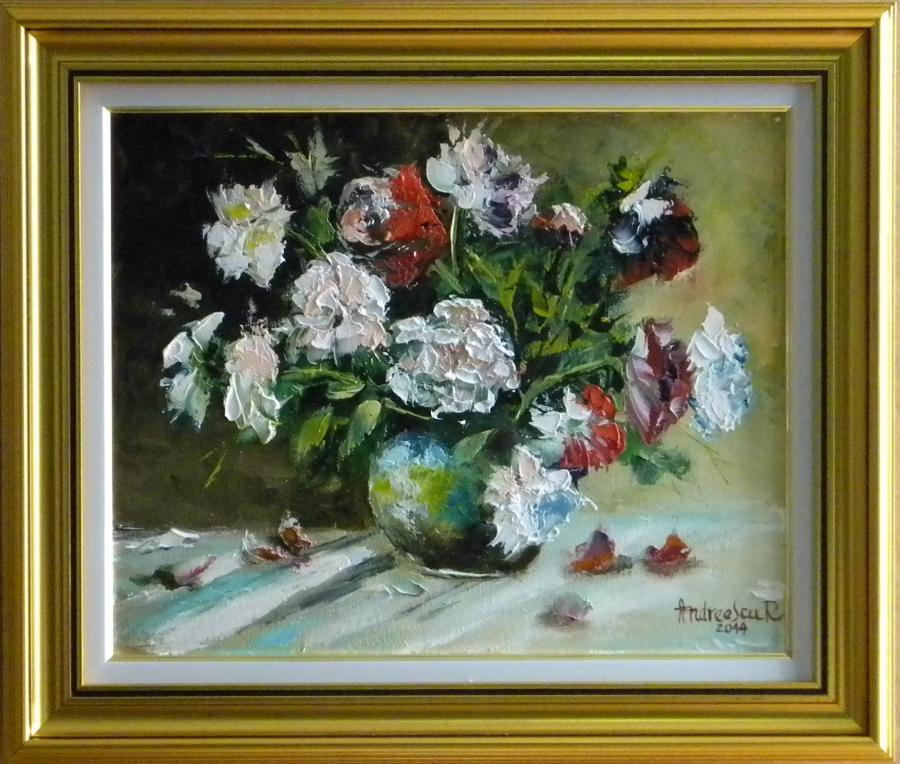 Picturi cu flori FLORI ALBE SI ROSII IN