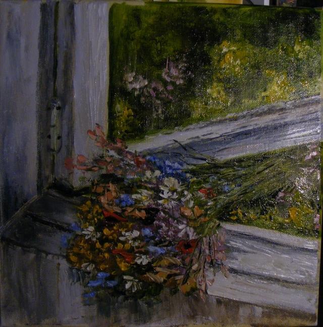 Picturi cu flori Flori de camp in fereas