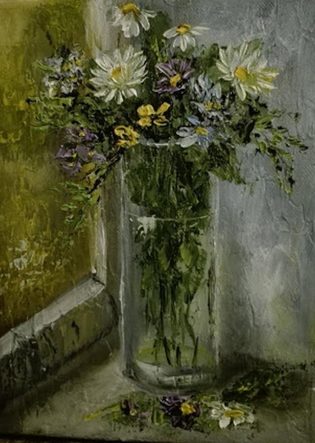 Picturi cu flori Flori de camp la fereas