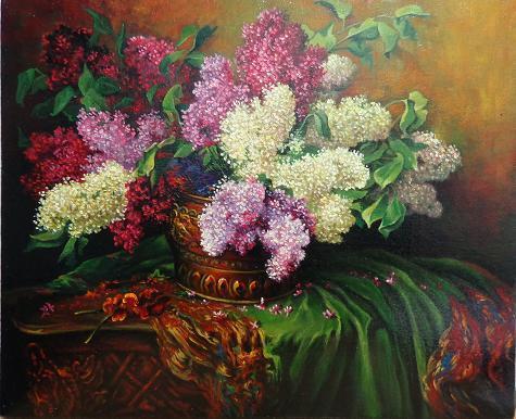 Picturi cu flori liliac cu draperie verd