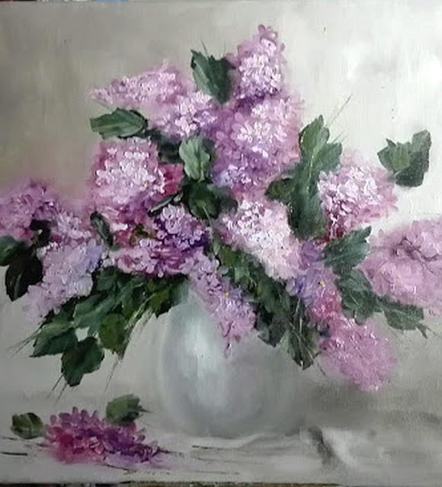 Picturi cu flori Liliac in vaza transluc
