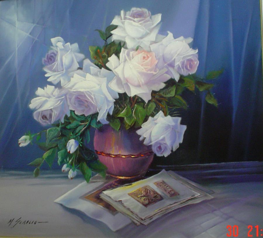 Picturi cu flori trandafiri albi cu vaza