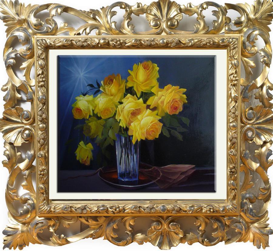 Picturi cu flori trandafiri galbeni pe f