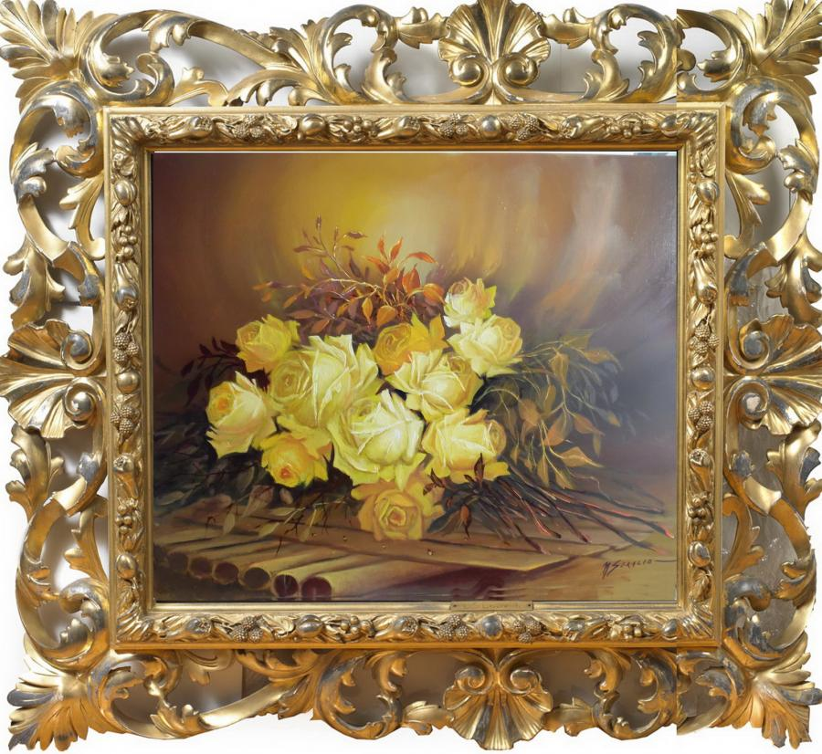 Picturi cu flori trandafiri galbeni pe p
