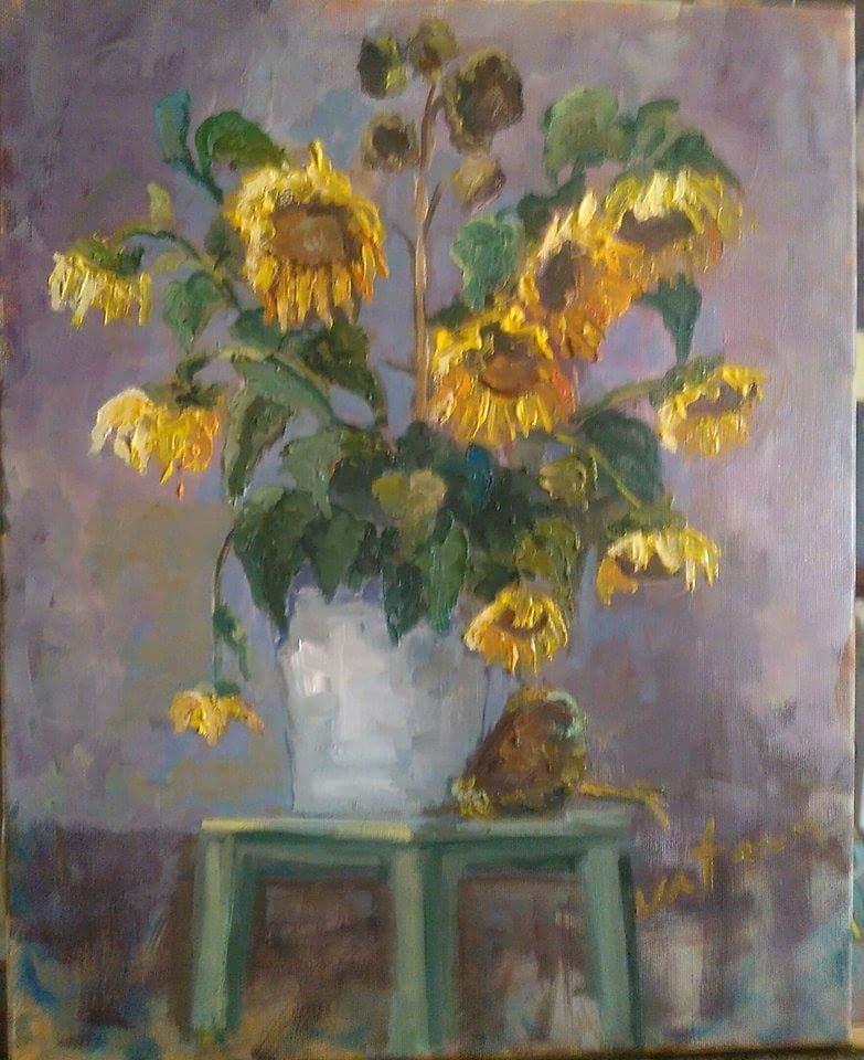 Picturi cu flori Tristețea florii soare
