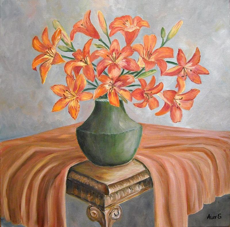 Picturi cu flori Vaza cu crini portocali