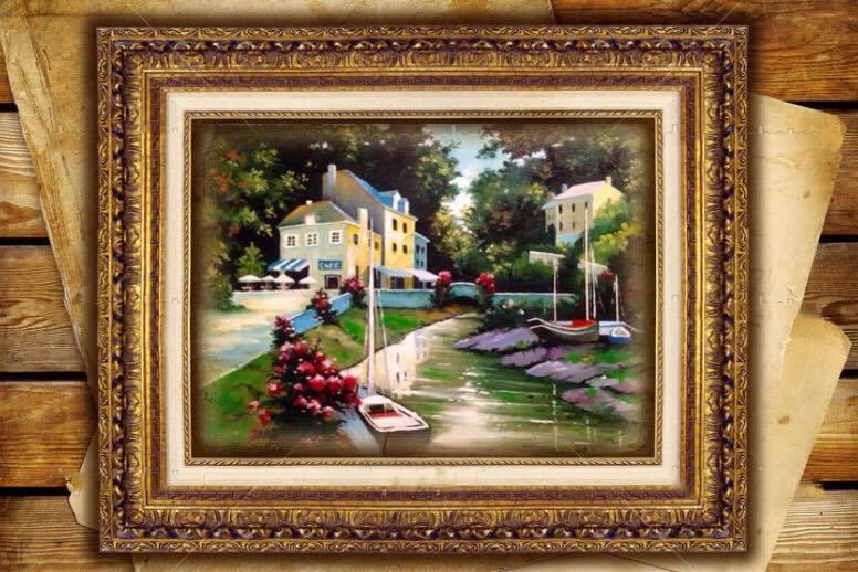 Picturi cu peisaje Barci, case si tranda