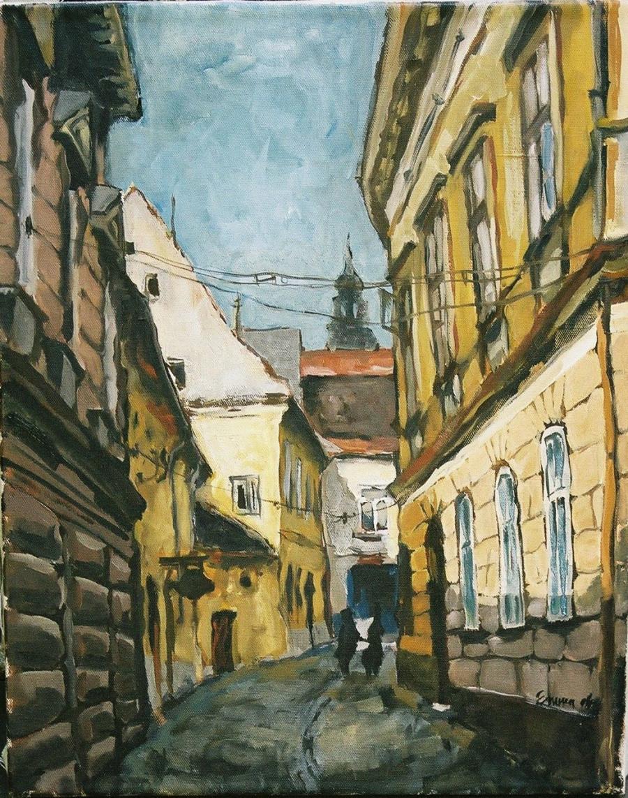 Picturi cu peisaje Brasov, Piata Enescu