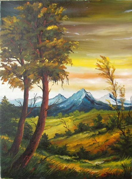 Picturi cu peisaje Padure la poale de mu