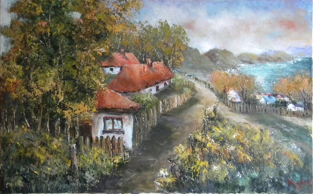 Picturi cu peisaje Satul de pe coline