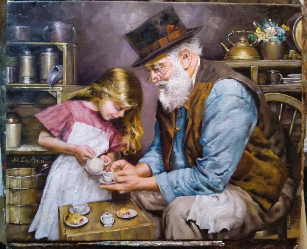 Picturi cu potrete/nuduri Ceaiul bunicul