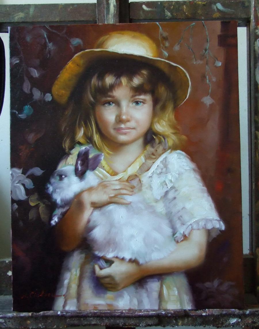 Picturi cu potrete/nuduri fetita cu iepu