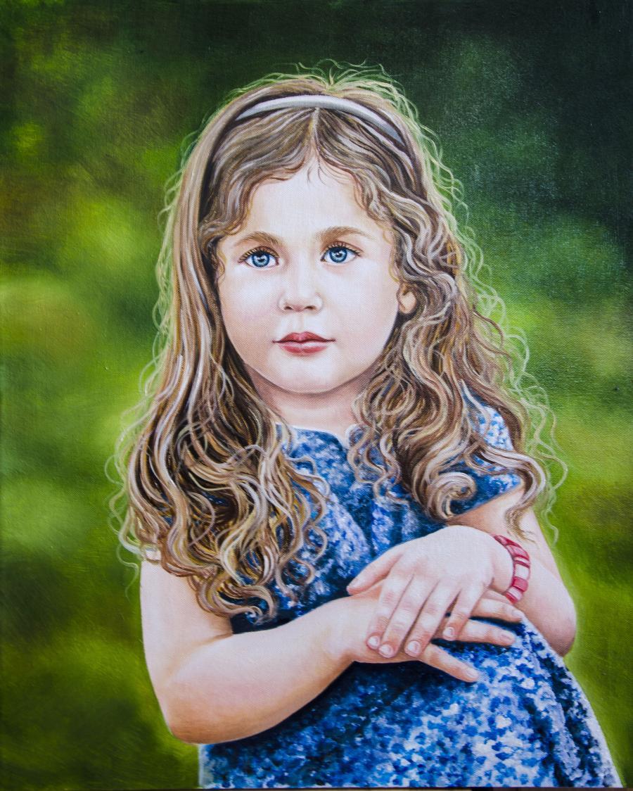 Picturi cu potrete/nuduri Fetita in alba