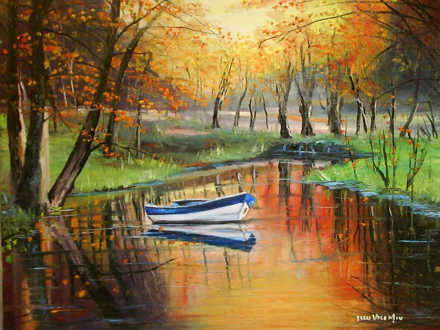 Picturi Toamna Peisaj Barca Imagini Peisaje Acuarela