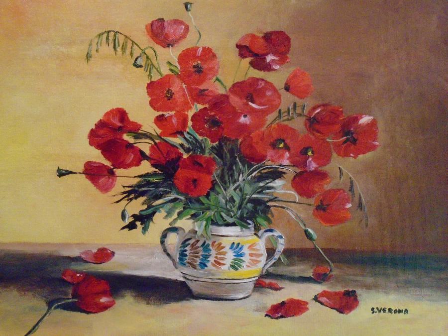 Picturi de vara Decor cu maci pictat de