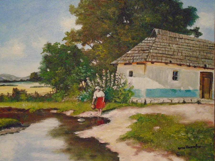 Picturi de vara Dimineata la rau ...Tabl