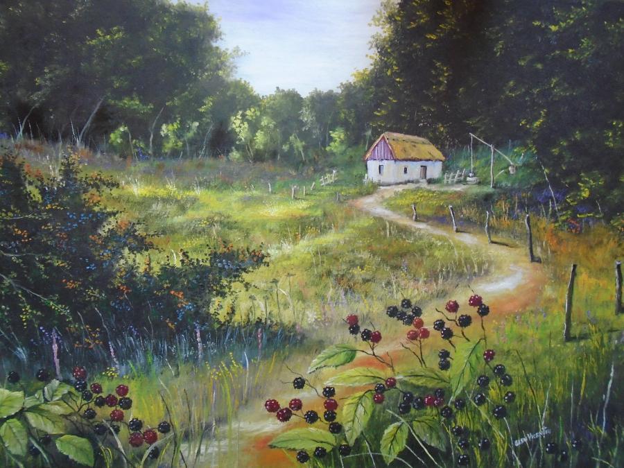 Picturi de vara  Drum cu mure spre casut
