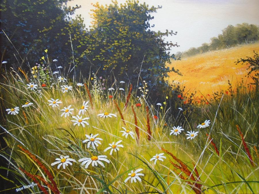 Picturi de vara poienita cu flori de cam