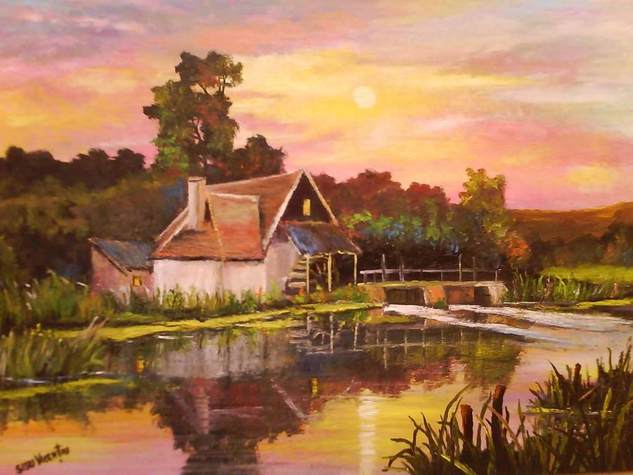Picturi de vara Seara pe lac  ...tabloul