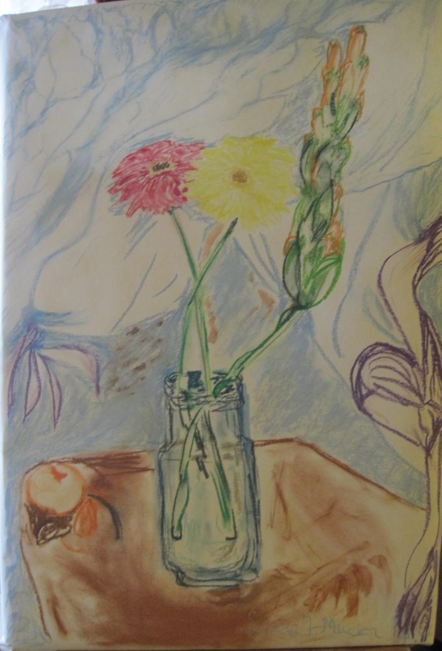 Picturi in creion / carbune Flori de toa