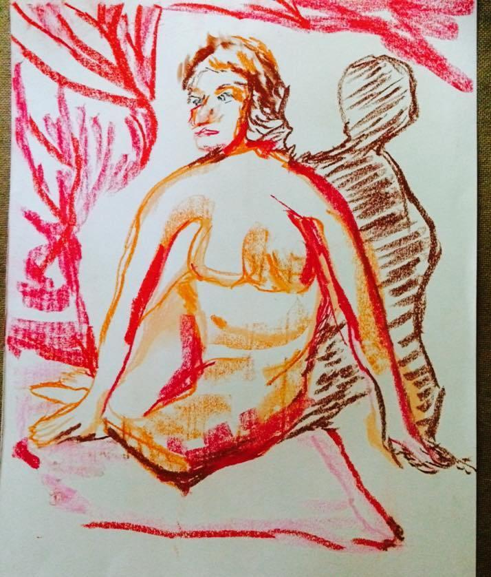 Picturi in creion / carbune Nud, rosu se