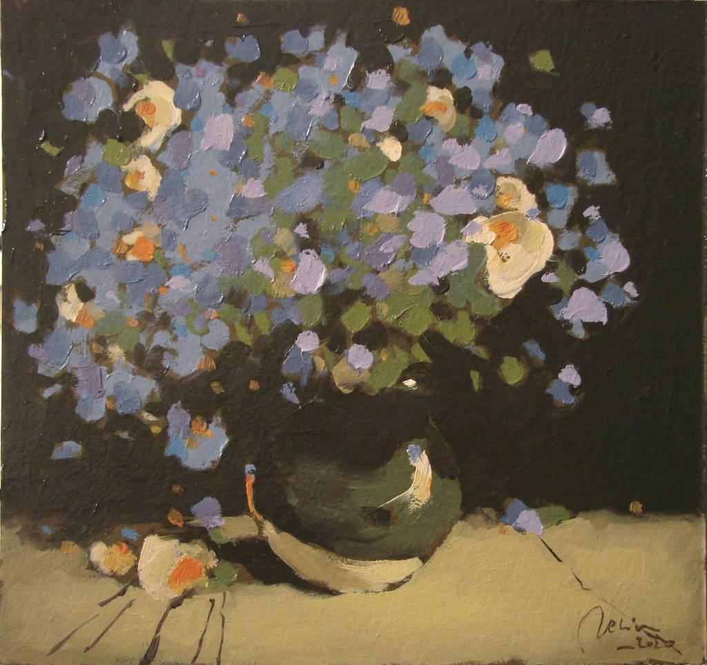 Poza Albastrele si flori de camp, ulei p