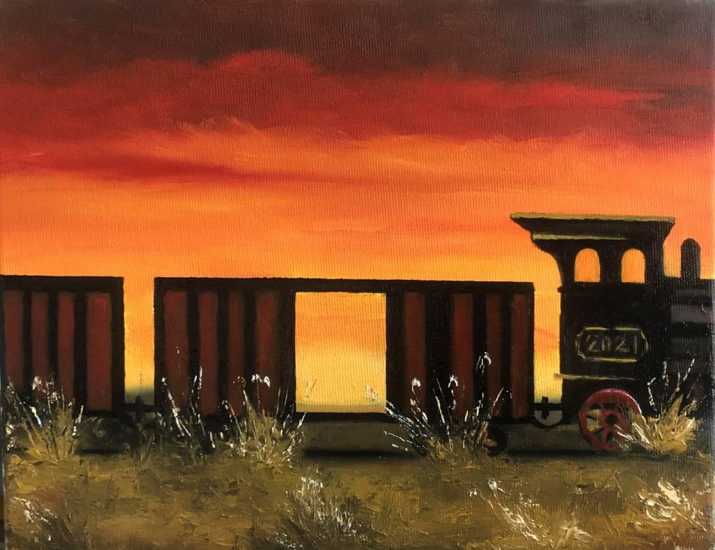 Poza Apus de soare peste trenul parasit