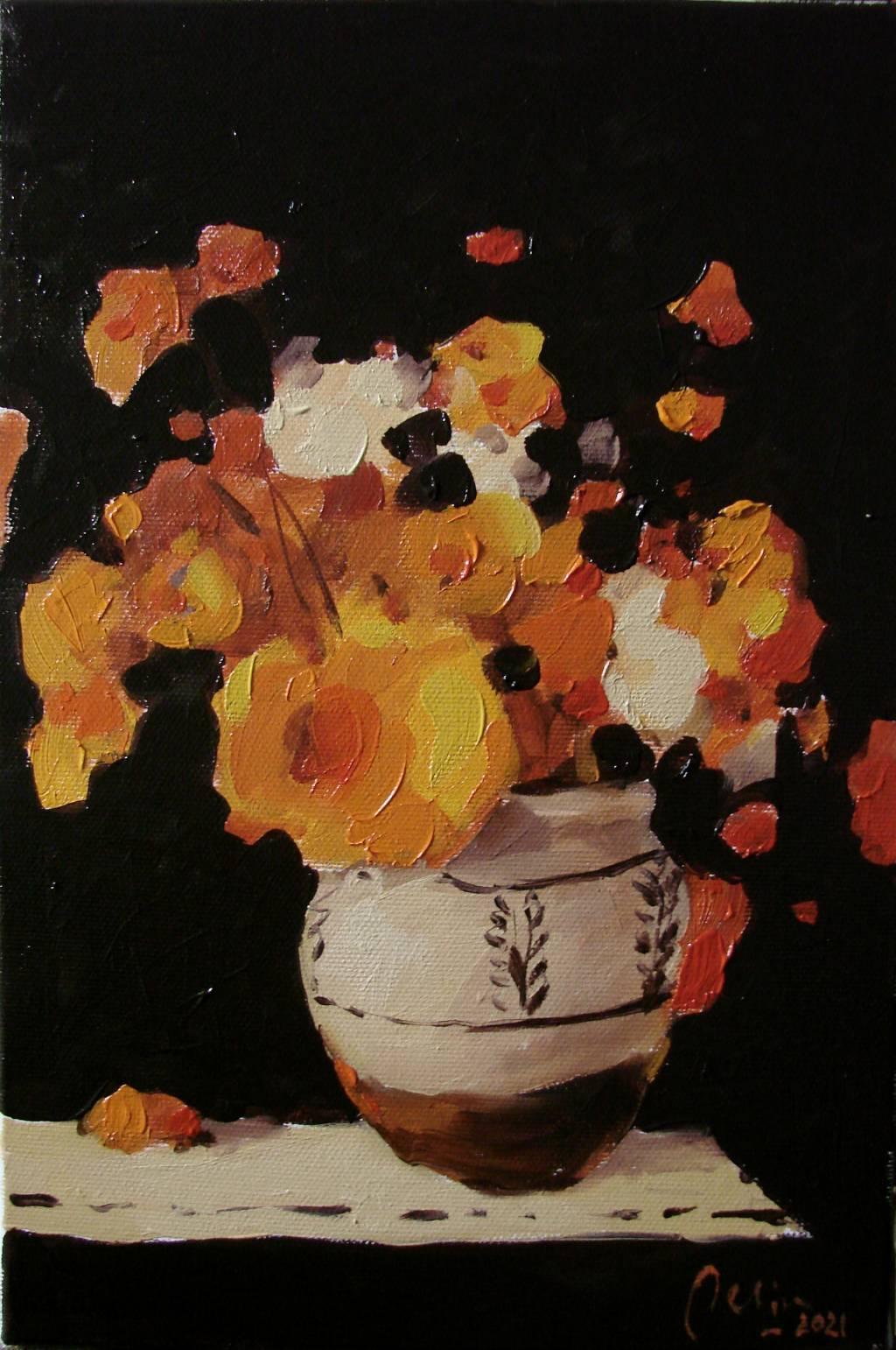 Poza Cana cu flori portocalii