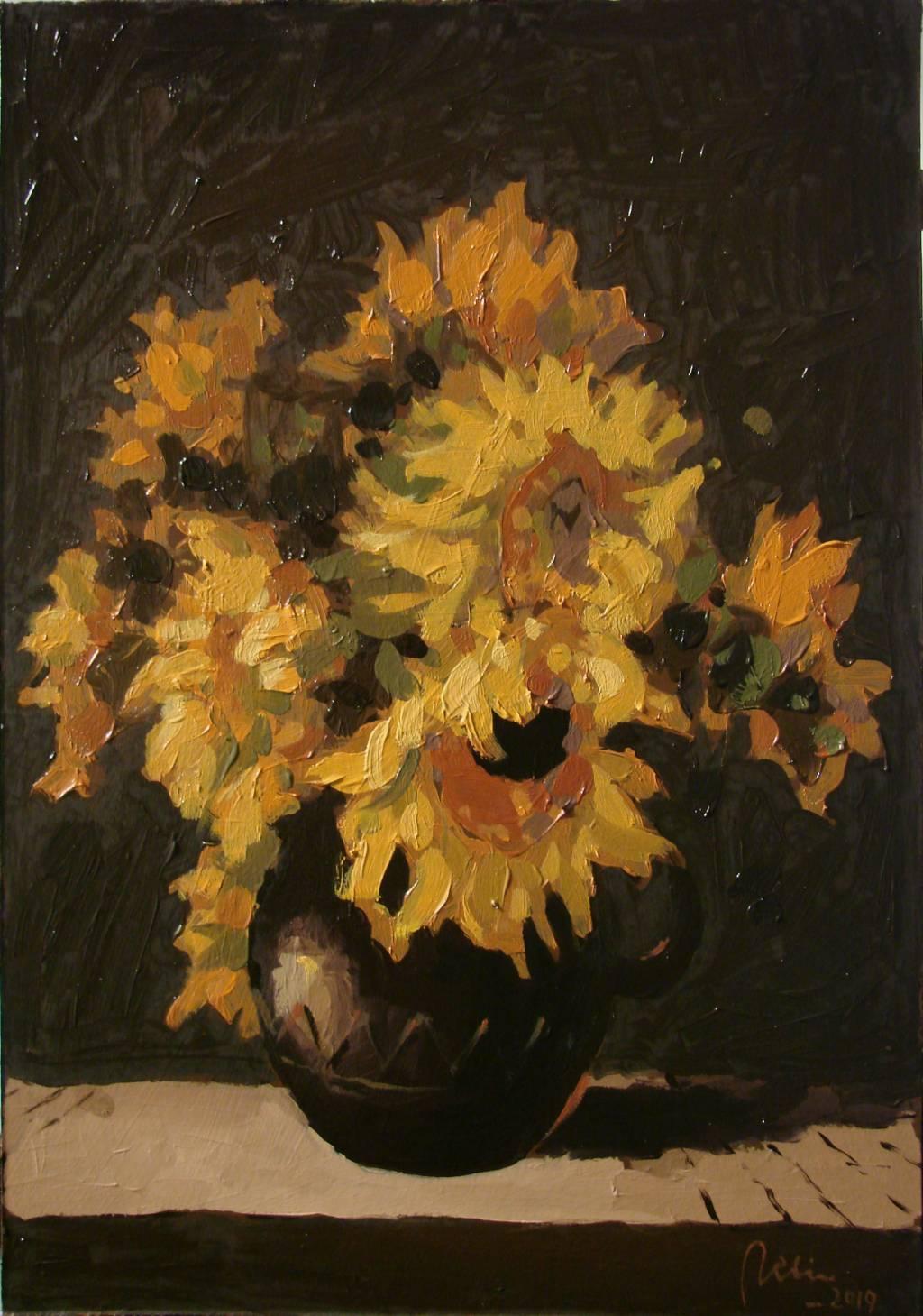 Poza Cana de lut cu floarea soarelui, ul