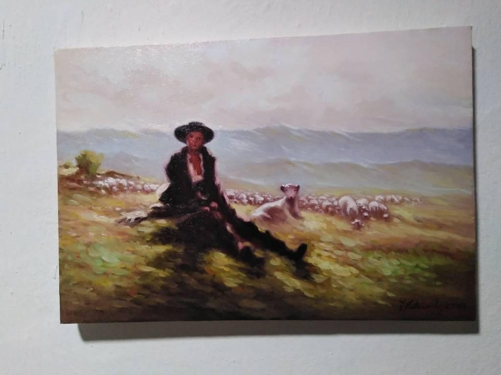 Poza Ciobanas cu turma de oi