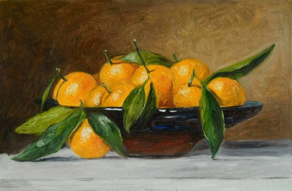 Poza clementine in bol de sticla