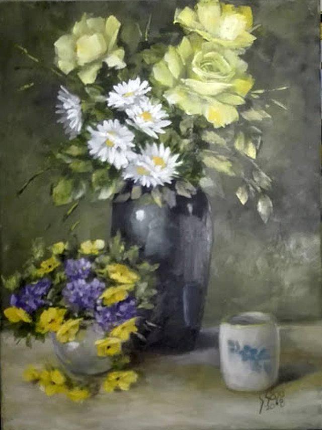Poza Compozitie cu vase cu flori
