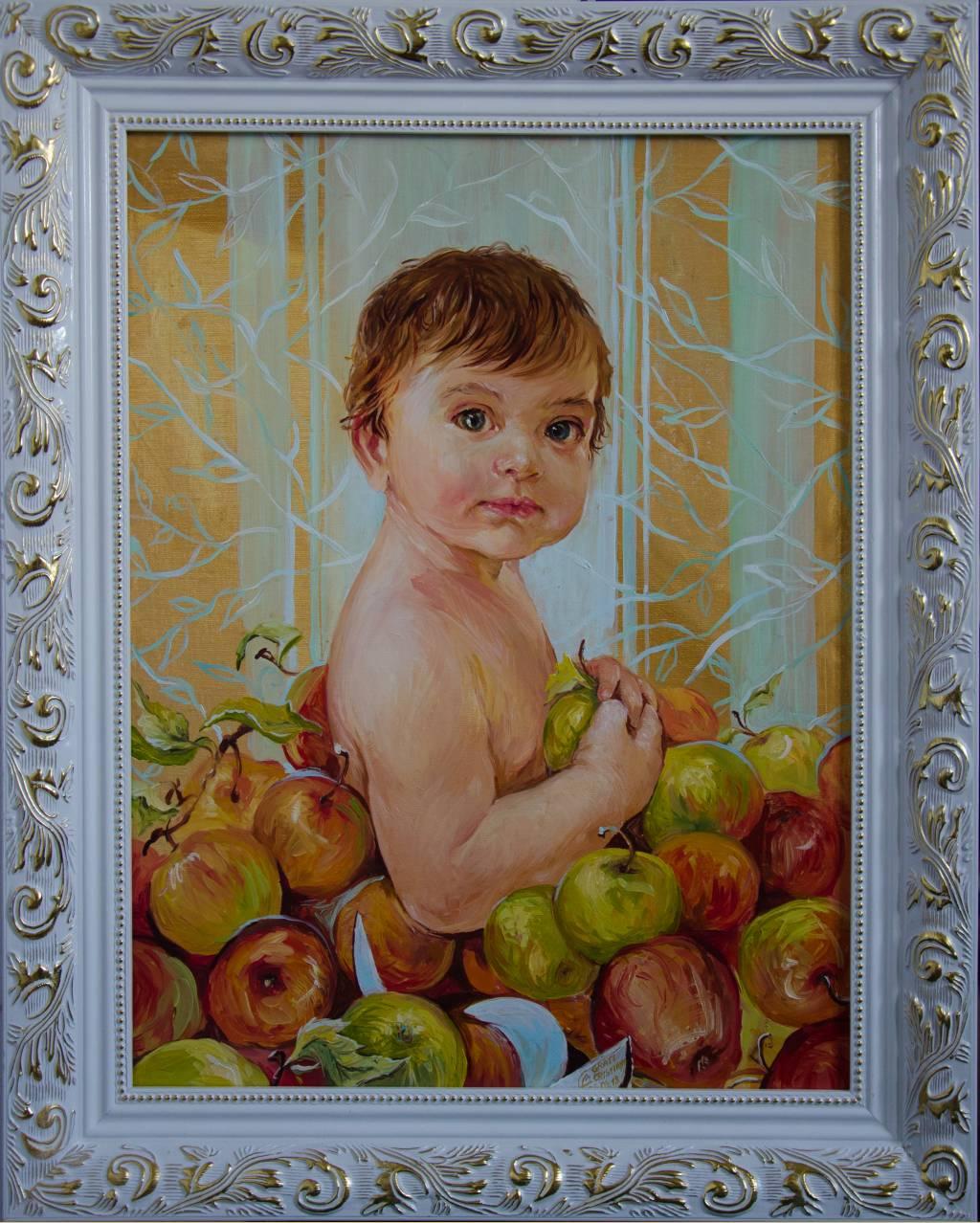 Poza Copilul in coșul cu mere