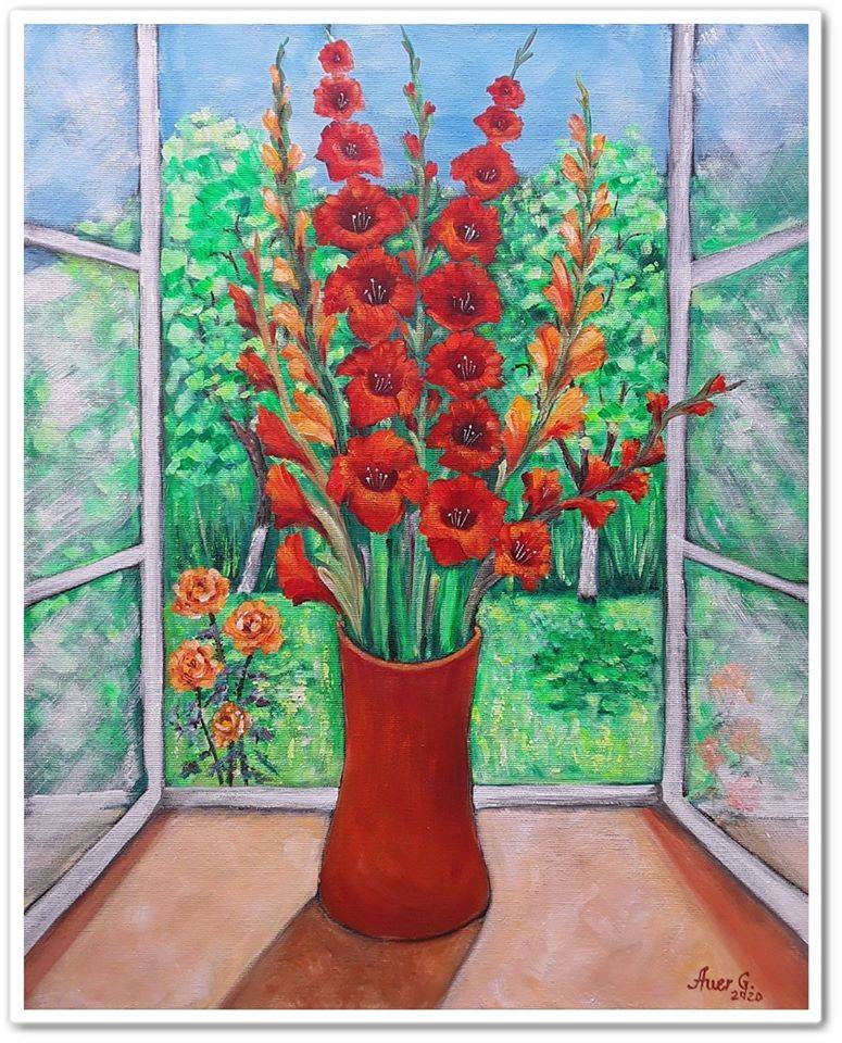 Poza Gladiole in fereastra