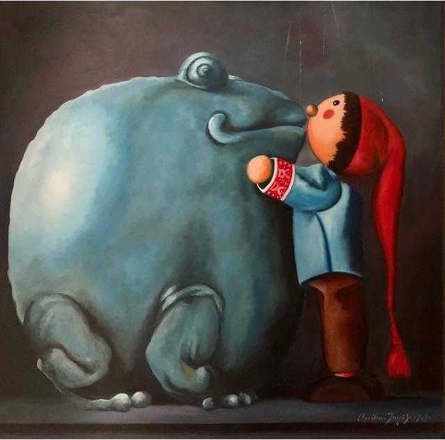 Poza Kissing the big blue frog