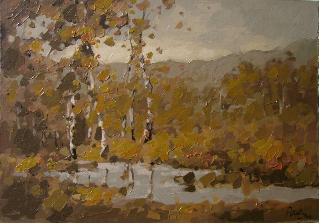 Poza Peisaj de toamna cu mesteceni, ulei