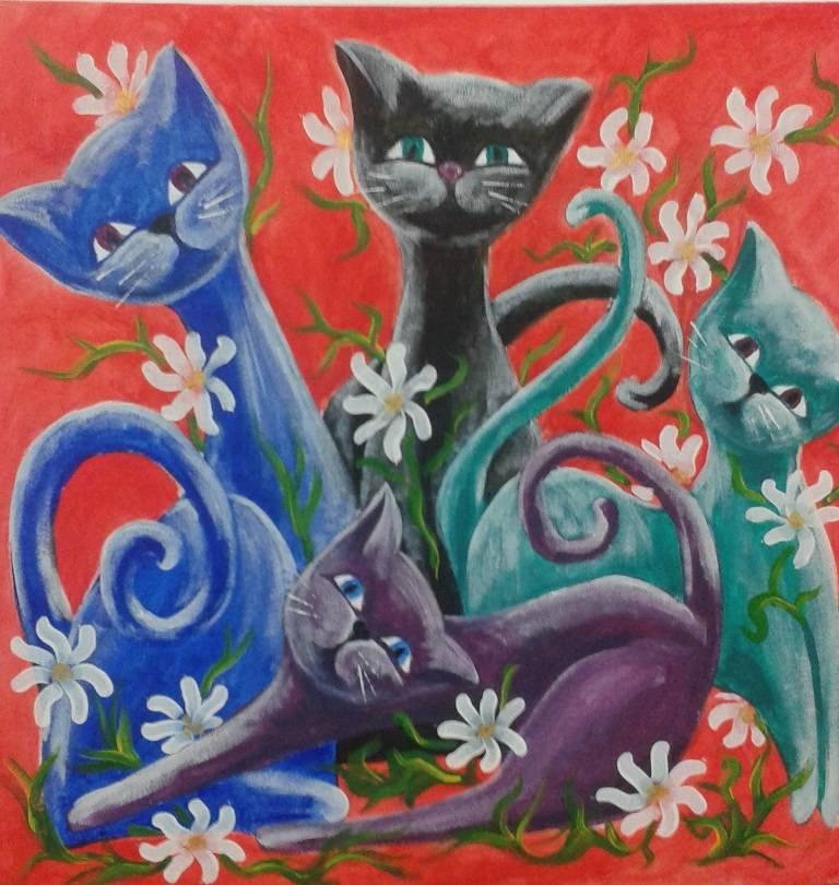 Poza pisici colorate