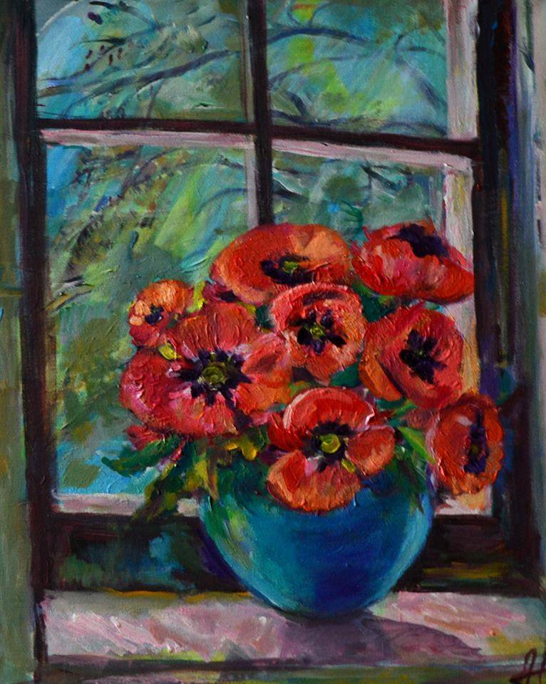 Poza Poppies in blue vase